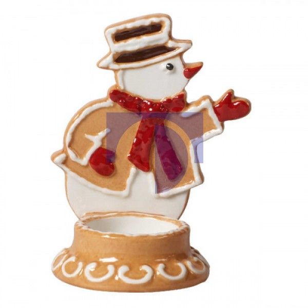 Подсвечник Пряничный снеговик 11 см с чайной свечей Winter Bakery Decoration Villeroy & Boch