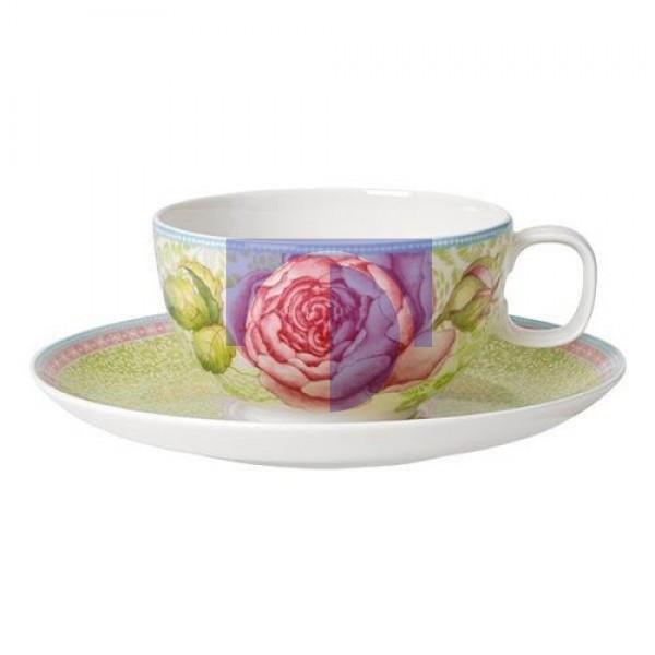 Чашка чайная с блюдцем зеленые Rose Cottage Villeroy & Boch