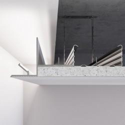 Алюминиевый профиль светотеневого шва от 50 мм для LED подсветки по периметру примыкания стена-потолок. C-1 Алюминий без покрытия