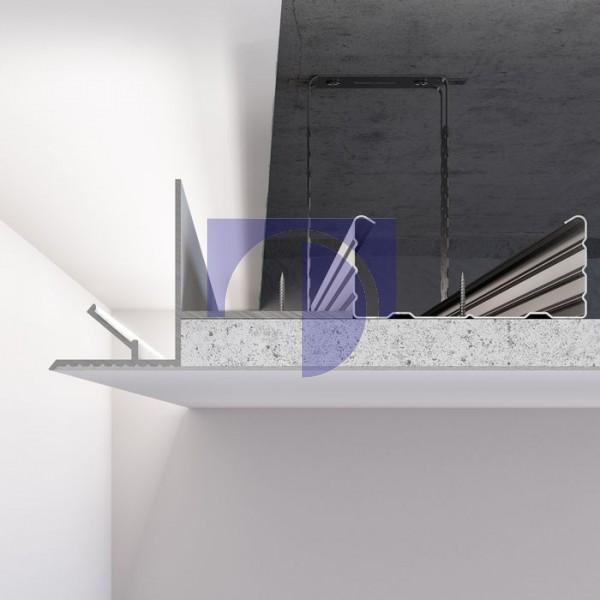 Алюмінієвий профіль світлотіньового шва від 50 мм для LED підсвічування по периметру примикання стіна-стеля. C-1 RAL9003 білий