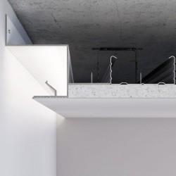 Алюминиевый профиль светотеневого шва 25 мм для LED подсветки по периметру примыкания стена-потолок С-2 Алюминий без покрытия