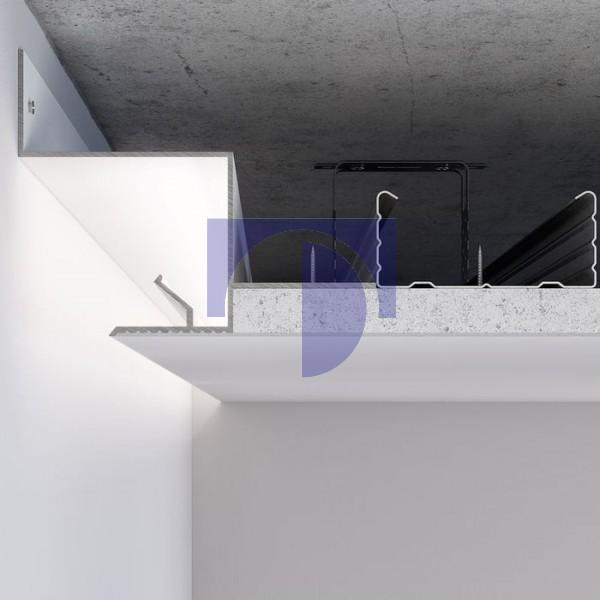 Алюмінієвий профіль светотеневого шва 25 мм для LED підсвічування по периметру примикання стіна-стеля С-2 Алюміній без покриття