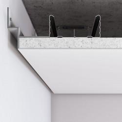 Алюминиевый профиль теневого шва по периметру примыкания стена-потолок для шва 12 мм С-4 RAL9003 белый