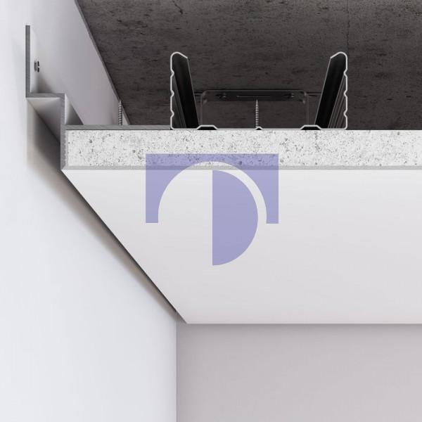 Алюмінієвий профіль тіньового шва по периметру примикання стіна-стеля для шва 12 мм. C-4 Алюміній без покриття