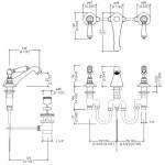 Dandy Смеситель для раковины на 3 отверстия Devon&Devon MARF46